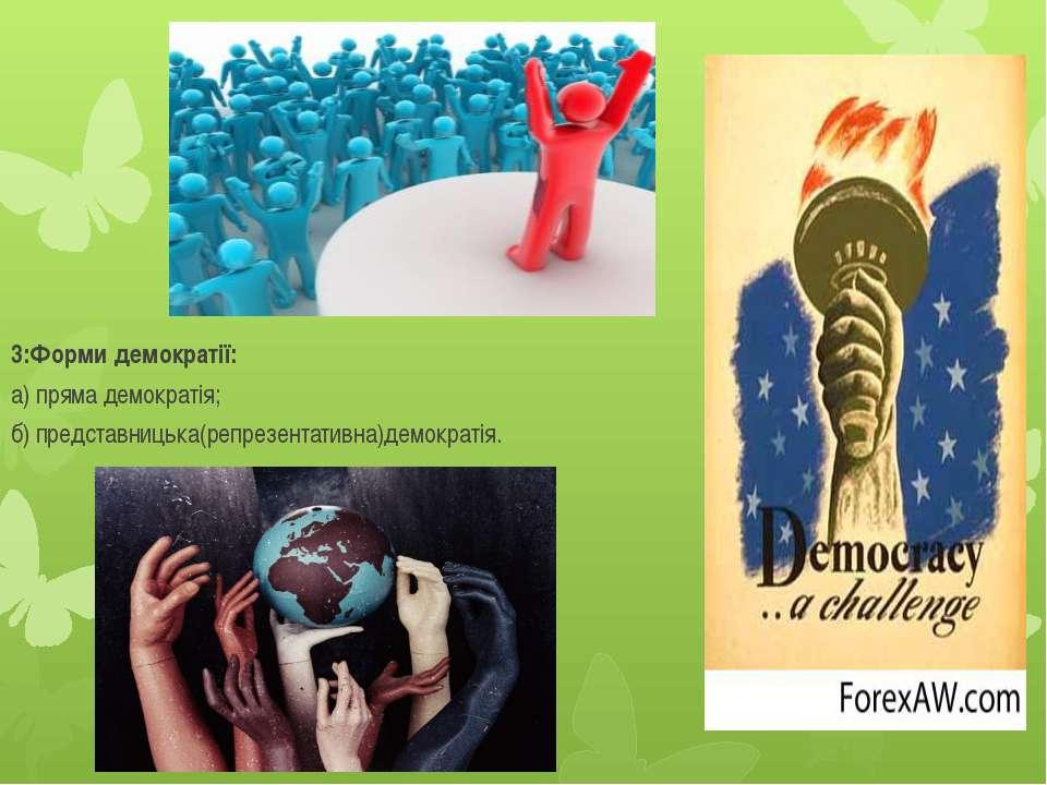 3:Форми демократії: а) пряма демократія; б) представницька(репрезентативна)де...