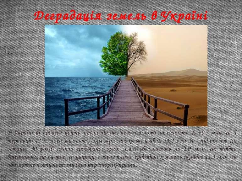 Деградація земель в Україні В Україні ці процеси йдуть інтенсивніше, ніж у ці...