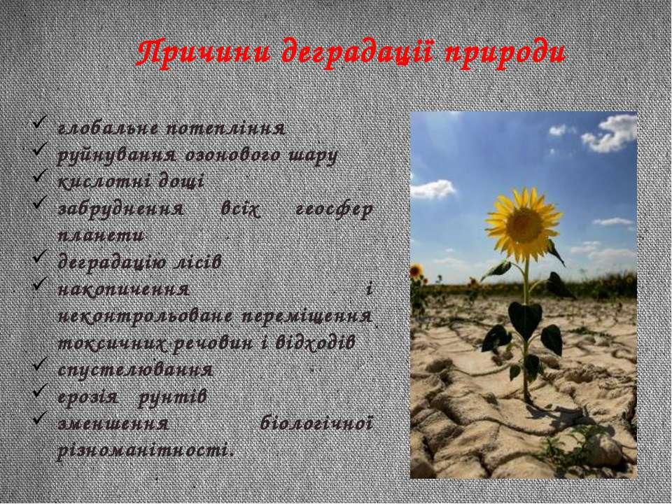 Причини деградації природи глобальне потепління руйнування озонового шару кис...