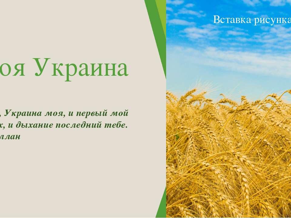 Моя Украина Тебе, Украина моя, и первый мой вздох, и дыхание последний тебе....