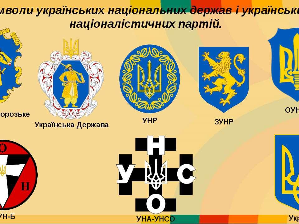 Символи українських національних держав і українських націоналістичних партій...