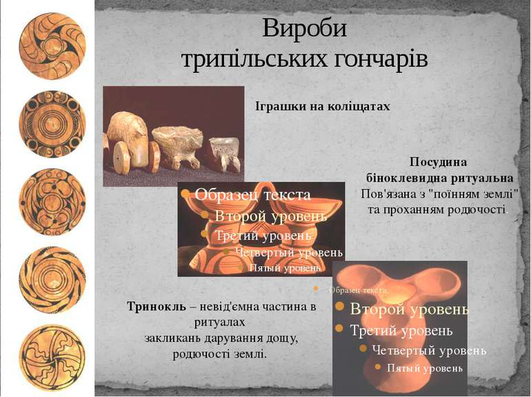 """Вироби трипільських гончарів Посудина біноклевидна ритуальна Пов'язана з """"пої..."""