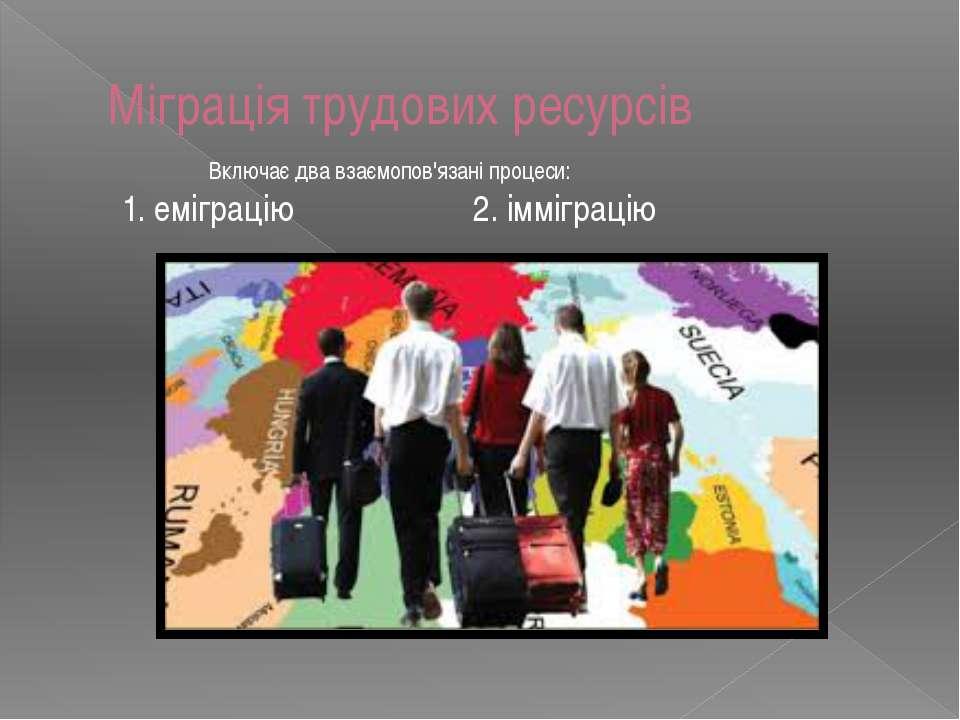 Міграція трудових ресурсів Включає два взаємопов'язані процеси: 1. еміграцію ...