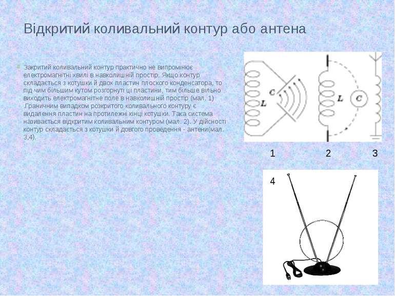 Відкритий коливальний контур або антена Закритий коливальний контур практично...