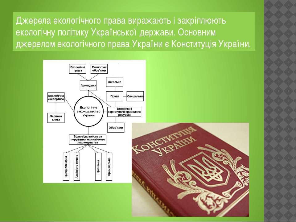 Джерела екологічного права виражають і закріплюють екологічну політику Україн...