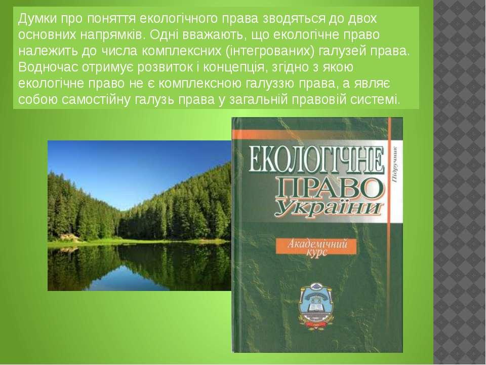 Думки про поняття екологічного права зводяться до двох основних напрямків. Од...