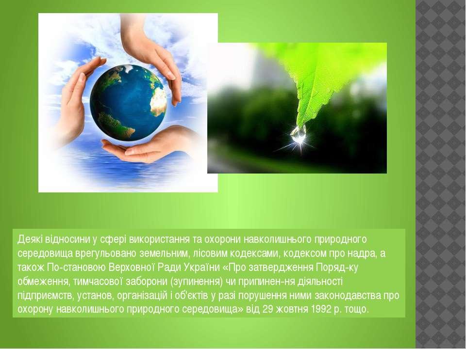 Деякі відносини у сфері використання та охорони навколишнього природного сере...