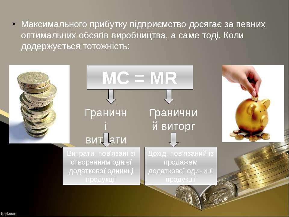 Максимального прибутку підприємство досягає за певних оптимальних обсягів вир...