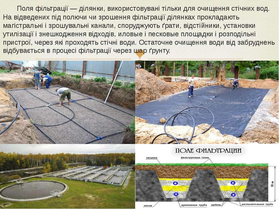 Поля фільтрації— ділянки, використовувані тільки для очищення стічних вод. Н...
