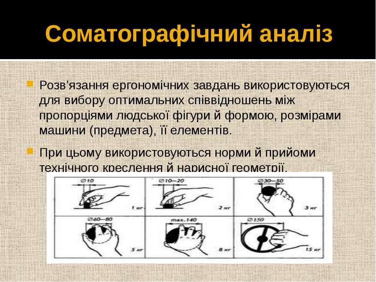 Соматографічний аналіз Розв'язання ергономічних завдань використовуються для ...