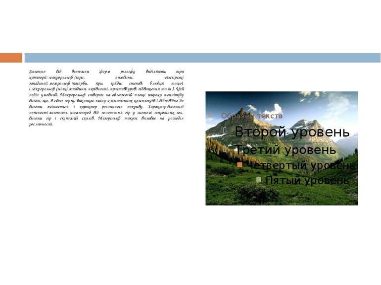 Залежно від величини форм рельєфу виділяють три категорії:макрорельєф(гори,...