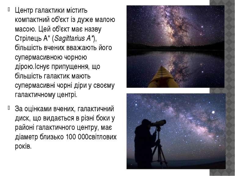 Центр галактики містить компактний об'єкт із дуже малою масою. Цей об'єкт має...