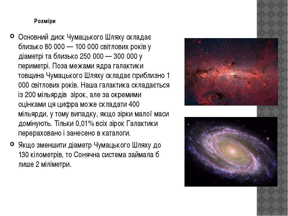 Розміри Основний диск Чумацького Шляху складає близько 80 000— 100 000 світл...