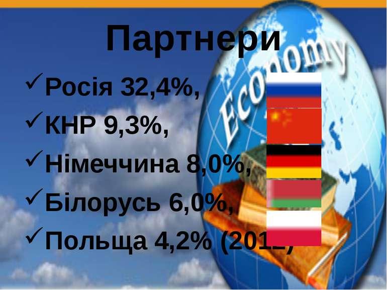 Партнери Росія 32,4%, КНР 9,3%, Німеччина 8,0%, Білорусь 6,0%, Польща 4,2% (2...