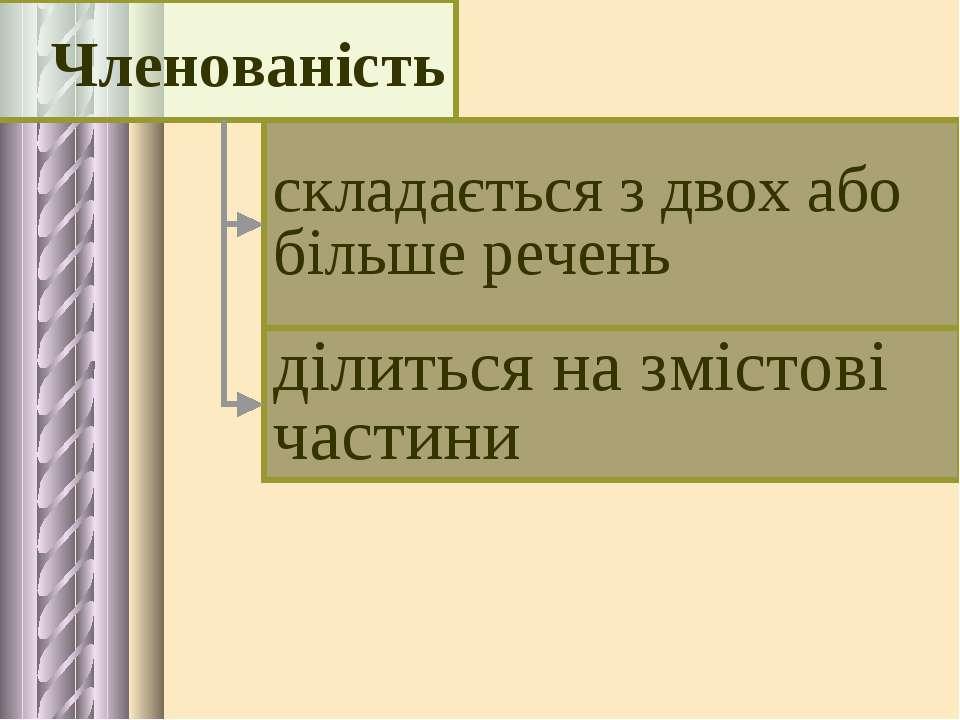 складається з двох або більше речень ділиться на змістові частини Членованість