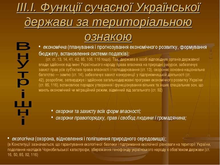 ІІІ.І. Функції сучасної Української держави за територіальною ознакою економі...
