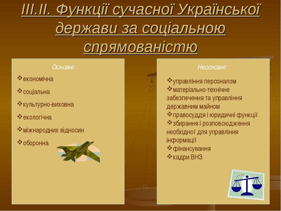 ІІІ.ІІ. Функції сучасної Української держави за соціальною спрямованістю