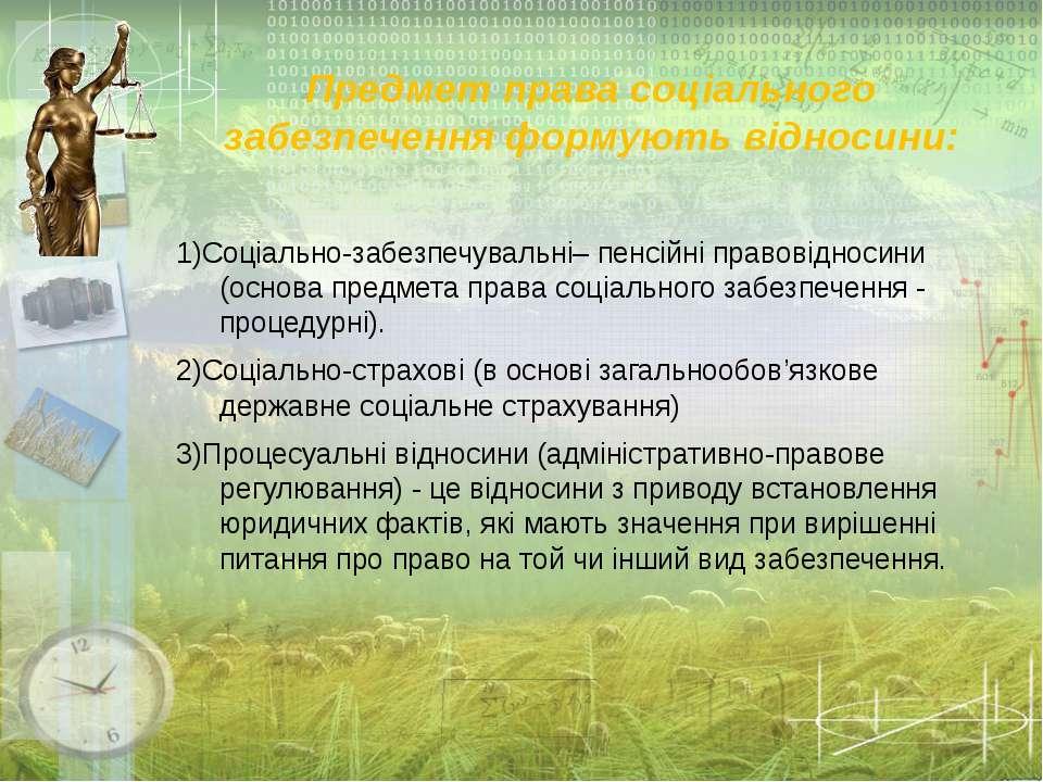 Предмет права соціального забезпечення формують відносини: 1)Соціально-забезп...