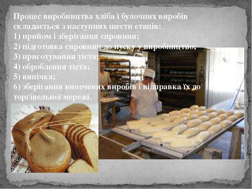 Процес виробництва хліба і булочних виробів складається з наступних шести ета...