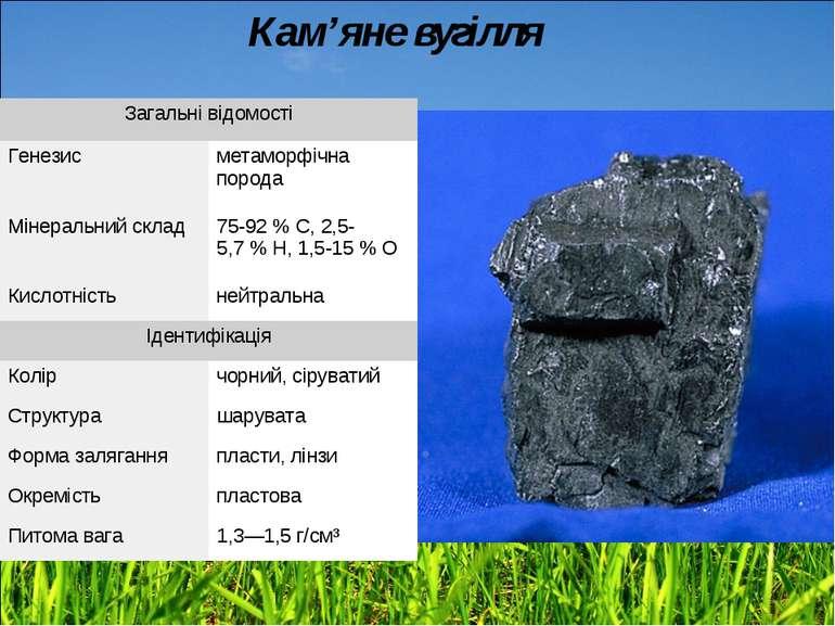 Кам'яне вугілля Загальні відомості Генезис метаморфічна порода Мінеральний ск...