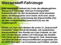 Wasserstoff-Fahrzeuge BMW entwickelte weltweit als Erster die alltagtaugliche...