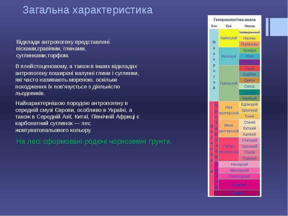 Загальна характеристика Відклади антропогену представлені пісками,гравіями, г...