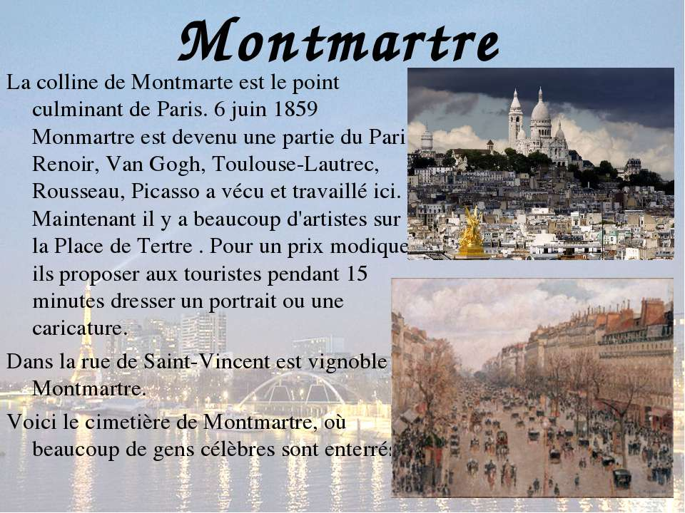 Montmartre La colline de Montmarte est le point culminant de Paris. 6 juin 18...