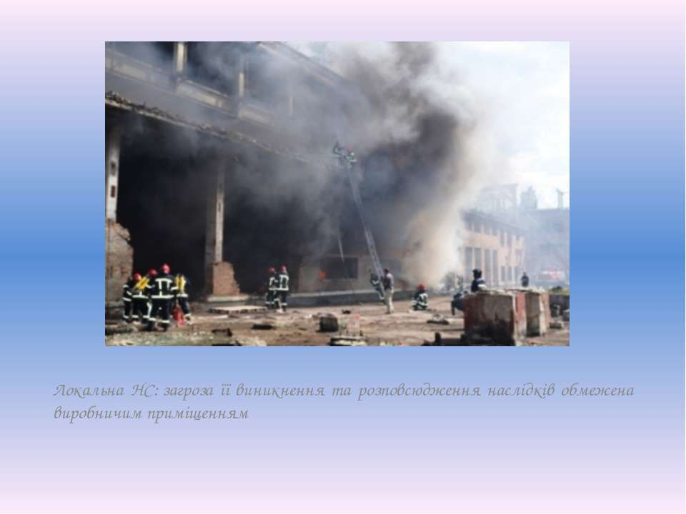 Локальна НС:загроза її виникнення та розповсюдження наслідків обмежена вироб...