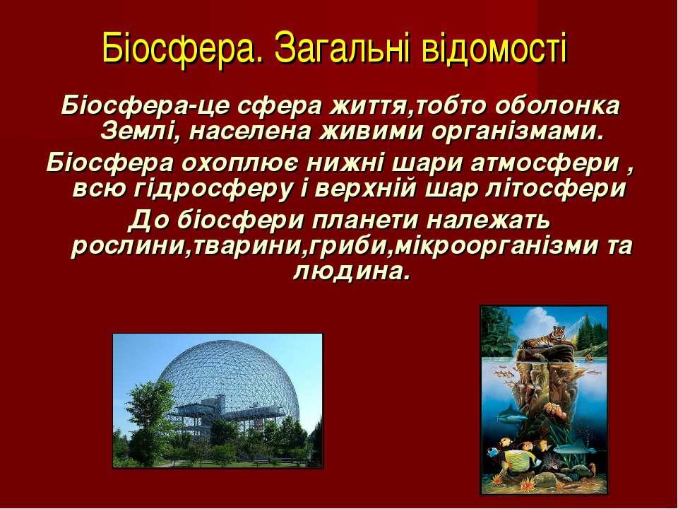 Біосфера. Загальні відомості Біосфера-це сфера життя,тобто оболонка Землі, на...