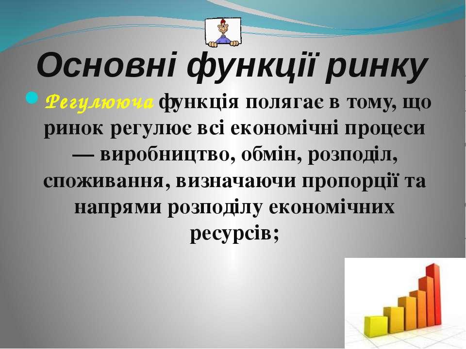 Основні функції ринку Регулююча функція полягає в тому, що ринок регулює всі ...