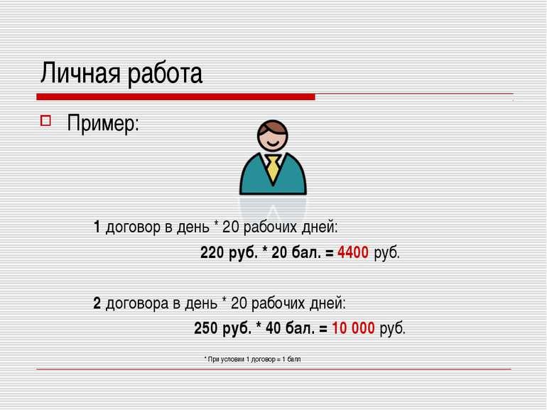 Личная работа Пример: 1 договор в день * 20 рабочих дней: 220 руб. * 20 бал. ...
