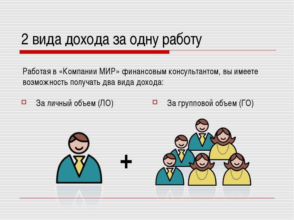 2 вида дохода за одну работу За личный объем (ЛО) За групповой объем (ГО) + Р...