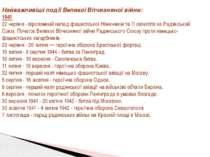 Найважливіші події Великої Вітчизняної війни: 1941 22 червня - віроломний нап...