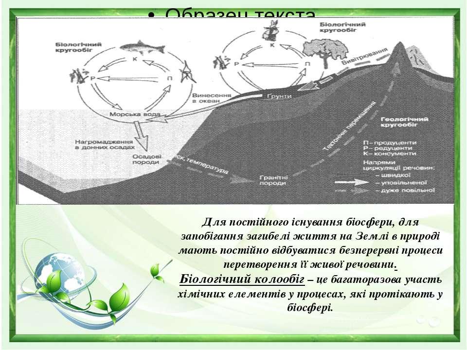 Для постійного існування біосфери, для запобігання загибелі життя на Землі в ...