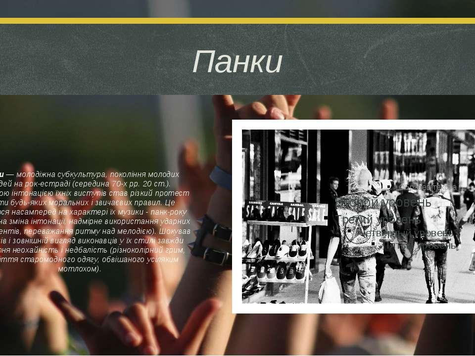Панки Панки — молодіжна субкультура, покоління молодих людей на рок-естраді (...