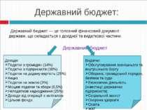 Державний бюджет:  Державний бюджет — це головний фінансовий документ держа...