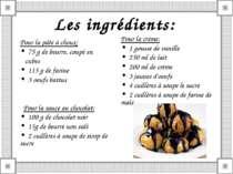 Les ingrédients: Pour la pâte à choux: 75 g de beurre, coupé en cubes 115 g d...