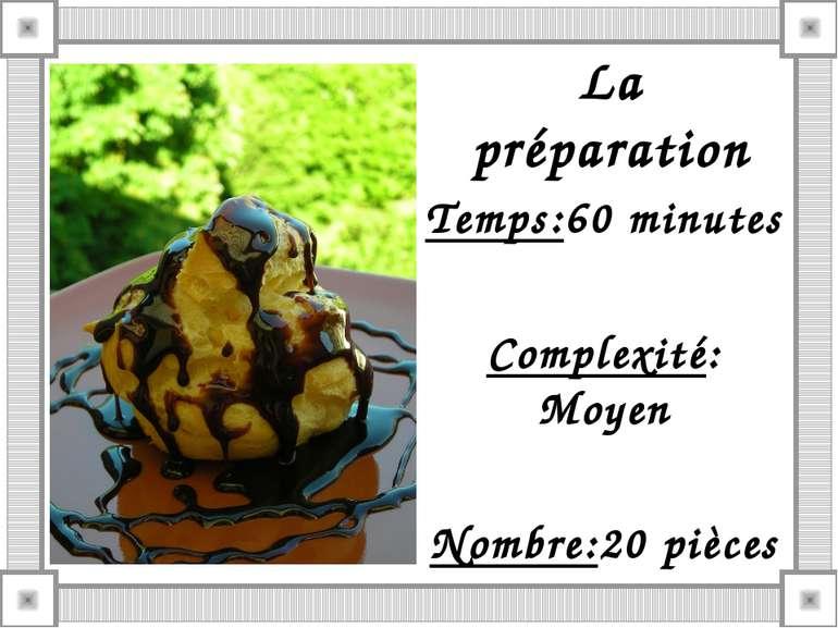 La préparation Temps:60 minutes Complexité: Moyen Nombre:20 pièces