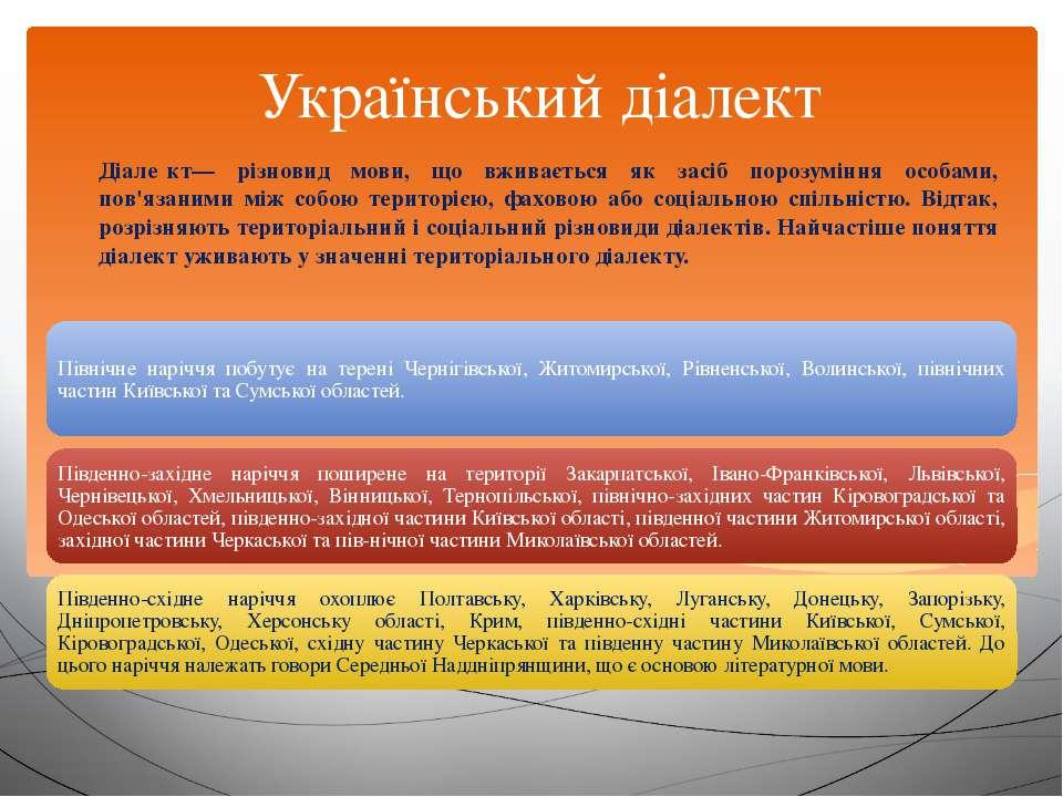 Український діалект Діале кт— різновид мови, що вживається як засіб порозумін...