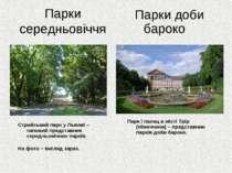 Парки середньовіччя Парки доби бароко Стрийський парк у Львові – типовий пред...