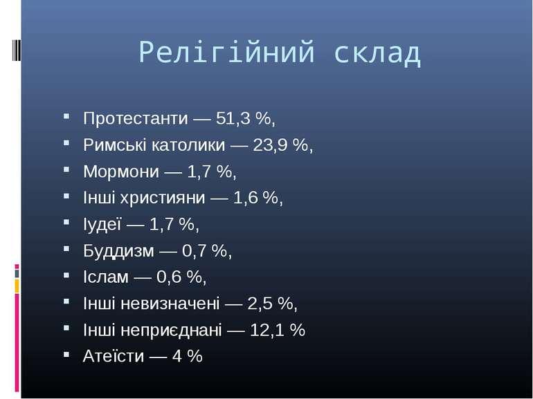 Релігійний склад Протестанти— 51,3%, Римські католики— 23,9%, Мормони— 1...