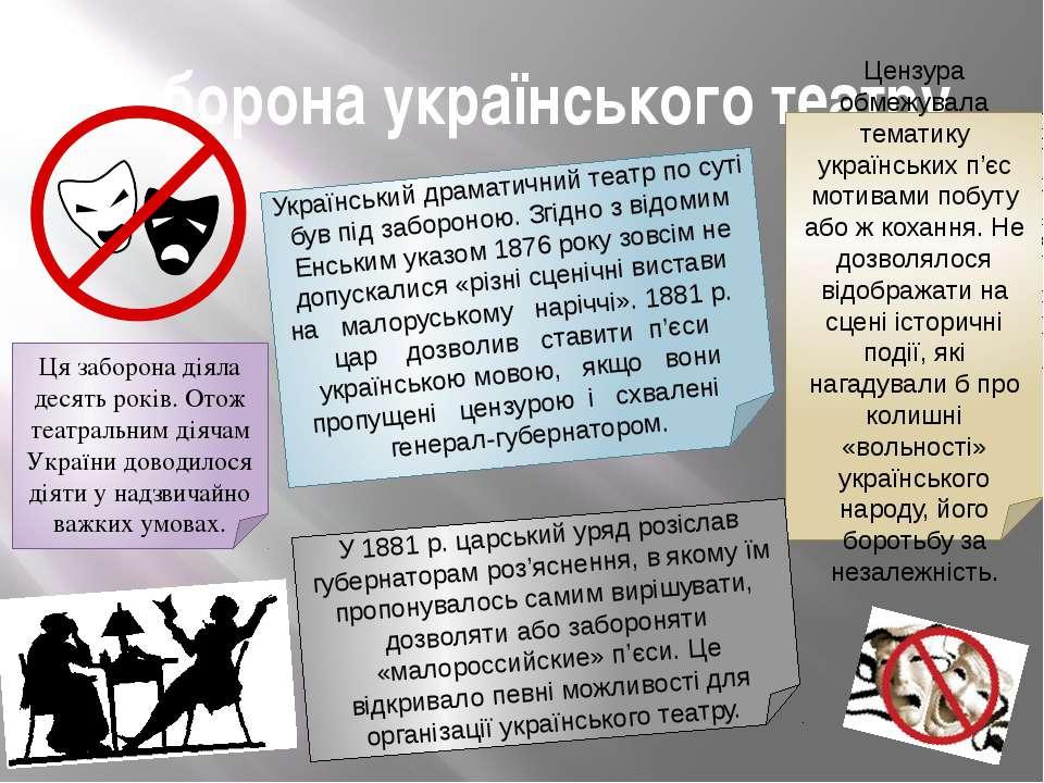 Заборона українського театру Український драматичний театр по суті був під за...
