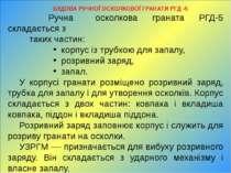 БУДОВА РУЧНОЇ ОСКОЛКОВОЇ ГРАНАТИ РГД -5 Ручна осколкова граната РГД-5 складає...