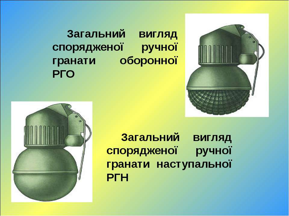 Загальний вигляд спорядженої ручної гранати оборонної РГО Загальний вигляд сп...