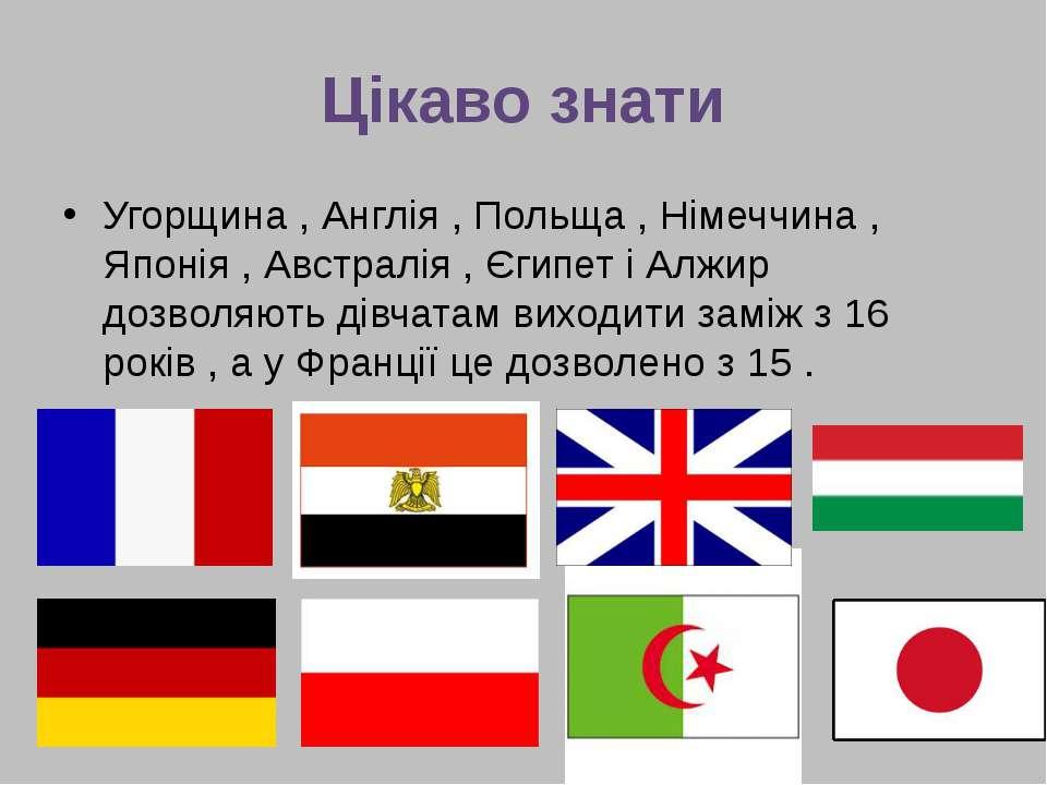 Цікаво знати Угорщина , Англія , Польща , Німеччина , Японія , Австралія , Єг...