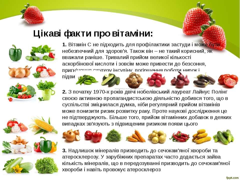 Цікаві факти про вітаміни: 1. Вітамін С не підходить для профілактики застуди...