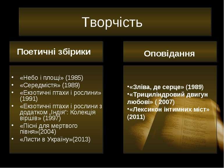 Творчість «Небо і площі» (1985) «Середмістя» (1989) «Екзотичні птахи і рослин...