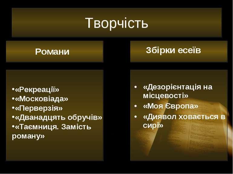 Творчість «Дезорієнтація на місцевості» «Моя Європа» «Диявол ховається в сирі...