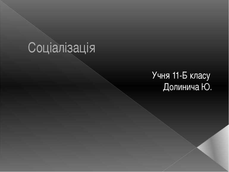 Соціалізація Учня 11-Б класу Долинича Ю.