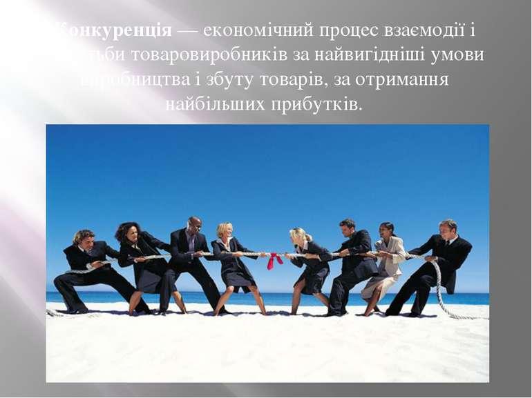 Конкуренція— економічний процес взаємодії і боротьби товаровиробників за най...